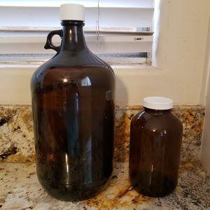 Amber glass jugs